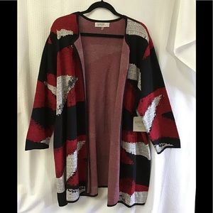 Red, White, & Black Cardigan - NWT